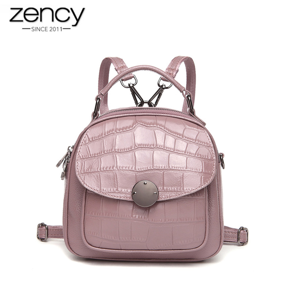 Zency 100% Real Cow Leather Women Backpack Stone Pattern Girl's Schoolbags Fashion Female Solid Travel Bags Charm Pink Knapsack zency genuine leather women backpack fashion brand real cow skin backpacks young girl school bags knapsack rucksack