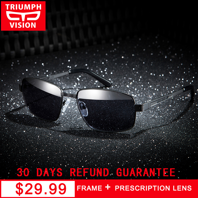 TRIUMPH VISION 2018 rectángulo Gafas de sol hombres con miopía Gafas polarizadas conductor Metal pesca marco Brillen Gafas