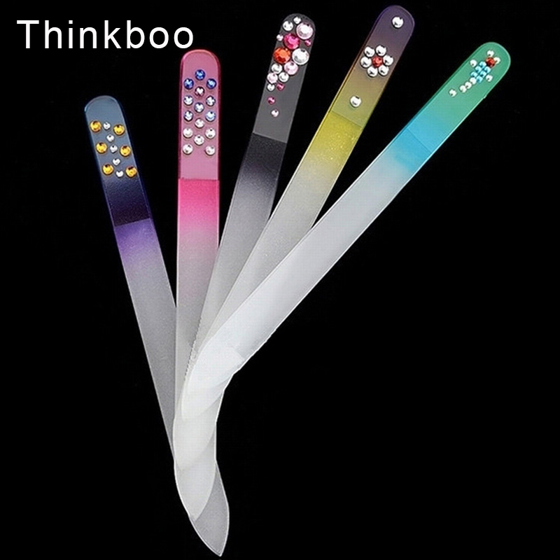 Thinkboo 5pcs/Lot Durable Nail Files Crystal Glass Nail Buffer  Nail File Random Color Manicure set