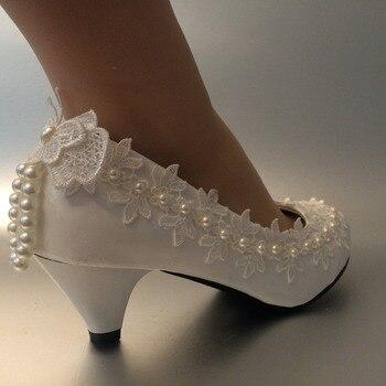 Coins De Mariée Blanc | Nouveau Design De Mode Wedges Talon Spike Bas à Talons Hauts Blanc Chaussures De Mariage Femmes Cheville Perles Papillon Chaussure De Mariée