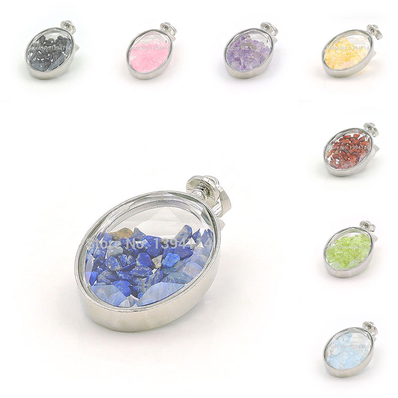 Natural Stone Chips Clear Glass Board Faceted Oval Gluing Pendant Of Silver Cladding Approx 50 30