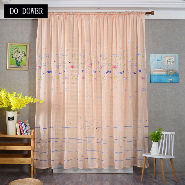 Decorative Cartoon Curtains Fish Pattern Tulle Sheer Kids Lovely Drapes For  Children Boys Bedroom Window Curtain