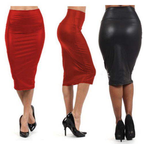 Women PU Leather High Waist Black Knee Length Straight Package Hip Pencil Skirt