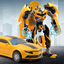 WJ J8069 Transformation 5 Bee Robot Metal Part Deformation Model Toy Alloy Car Boy Children Gifts alloy robot transformation car toys alloy deformation p olice robot bus toy for kids children birthday christmas gift