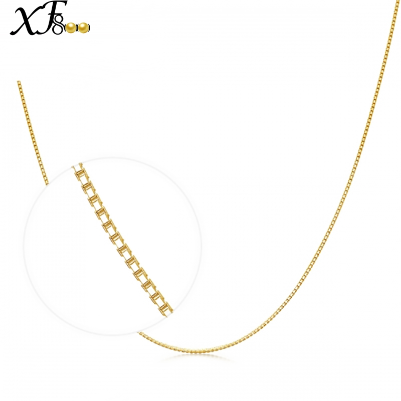 XF800 Genuine 18K Yellow Gold Chain 18 inches fine Jewelry Real au750 Necklace Pendant 45cm about 1g Party Gift For Women XFX314 все цены