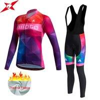 Miloto Women Winter Fleece Cycling Jersey Long Bicycle Cycling Clothing Bike Wear Maillot Ropa Ciclismo Bib
