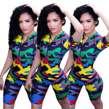 2019 New Arrival  Camouflage jumpsuit Europe and America sexy womens clothing Jumpsuit Women Summer Bodysuit Flower