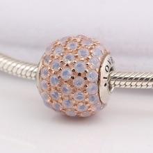 bbe51c0ee84d Auténtica cuenta de Plata de Ley 925 amor encanto claro CZ Fit Original  mujer Pandora Essence brazalete pulsera collar DIY joyer.
