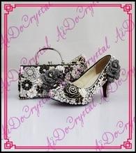 Aidocrystal Promotion price royal black luxury Italian matching shoe and bag set with diamond low heel size35-44