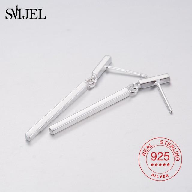 Smje Real 925 Sterling Silver Simple Bar Earrings Stud For Women Long Tel Stick Whole Geometry Brincos Bijou