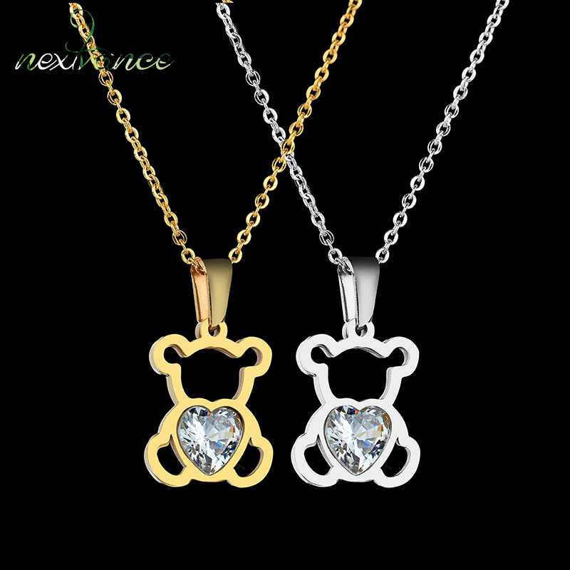 Nextvance Hollow Stainless Steel Bear Pendant Necklace Cute CZ Stone Love Heart  Animal Necklace Girls Statement Jewelry