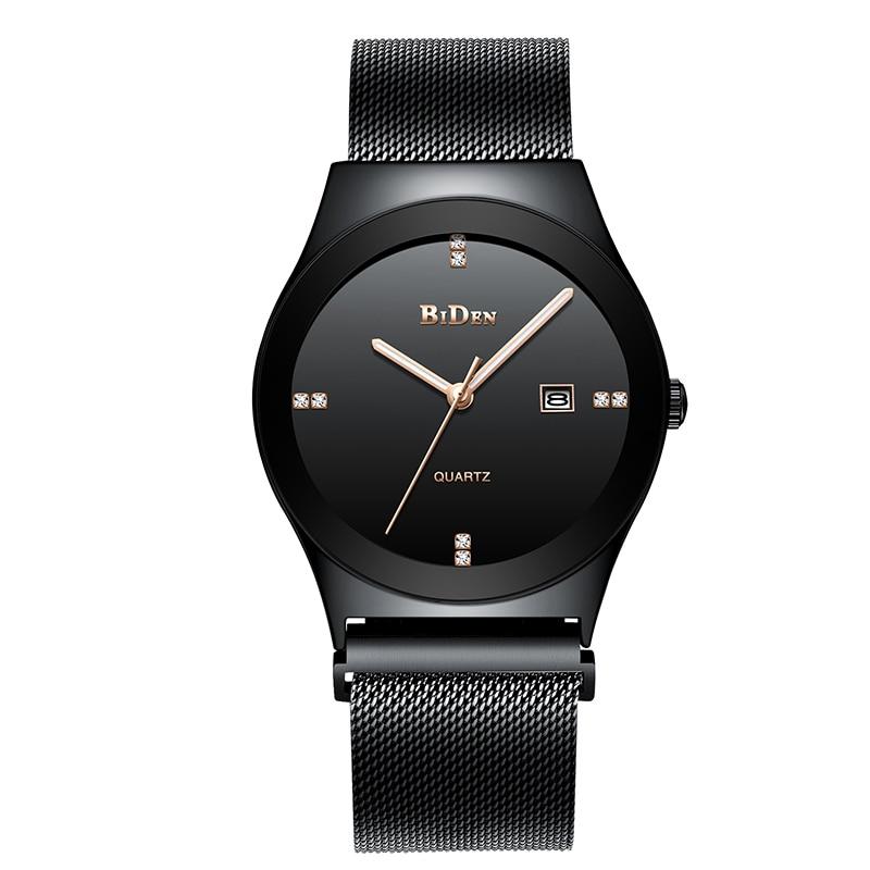 BIDEN Simple Casual Men Diament Watch Analog Unisex Crystal Date Quartz Stainless Steel Mesh Wrist Watch Gift Relogio Masculino