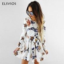 ELSVIOS Fashion Floral Print Pleated font b Dresses b font 2018 Spring Long Sleeve Elastic Waist