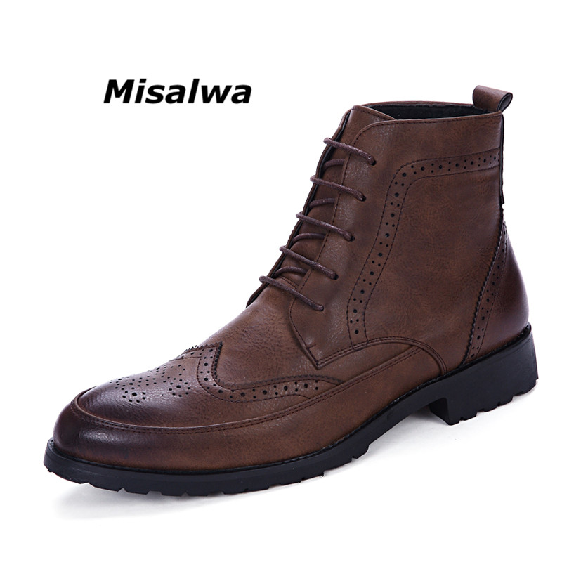 Misalwa New Men PU Leather Ankle Oxford Boots British Style Male Casual Lace Up Derby Shoes Retro Carved Flower Brogue Shoes tangnest men pu leather shoes 2017 british style men lace up casual shoes solid platform flats for male comfort shoes xmr2422