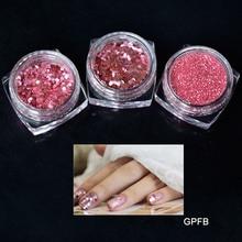 Hot Sale 3 Bottle/Set Carmine Pink Sequin Dust Gem Nail Glitter Decorations 3jars Acrylic UV Powder 3D Art Tips