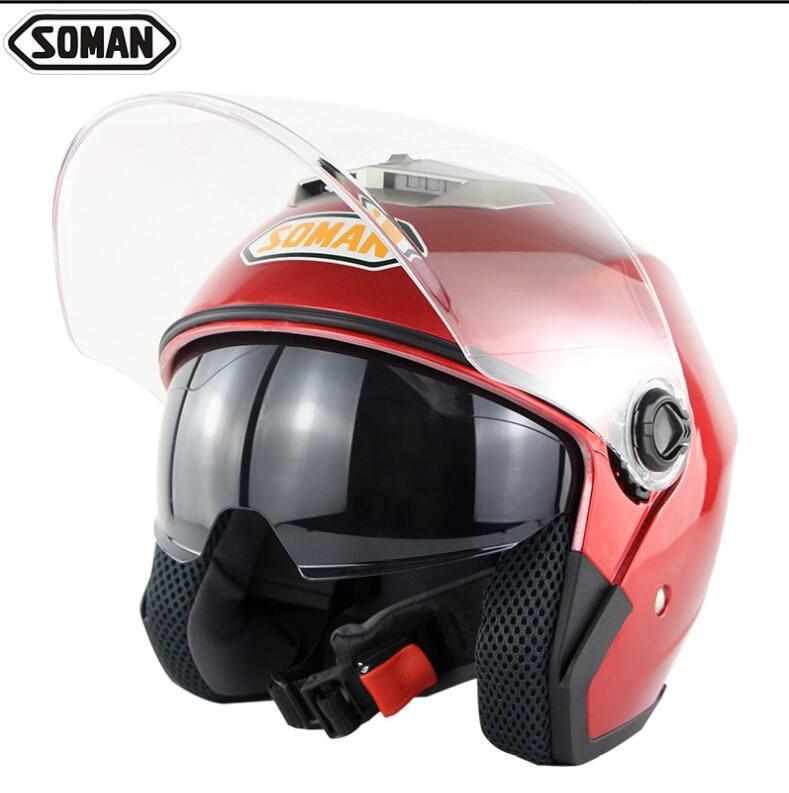 SOMAN 517 мотоцикл электрический автомобиль двойной объектив шлем половина шлем четыре сезона универсальный унисекс - Цвет: 4