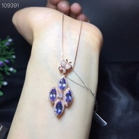 Blue red green colour for choose natural Tansanite Ruby Emerald gemstone pendant for necklace with silver for women