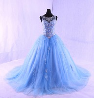 Sexy Sky Blue Pink Ball Gown Quinceanera Dress Beaded Backless Style Girls Sweet 16 Prom Gowns