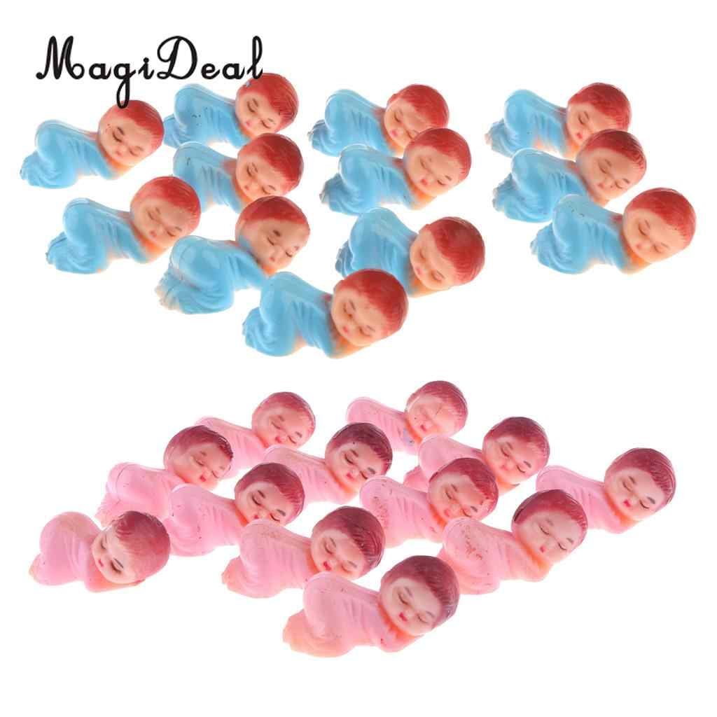48 Pieces Lovely Mini Sleeping Baby Girls Baby Boys Figures Baby Shower Party Favors Bag Filler Blue+Pink