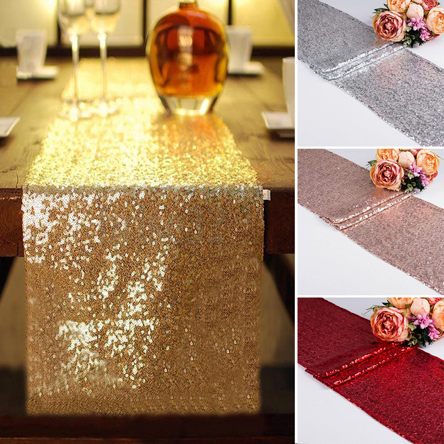 Luxury Rose Gold Sequin Table Runners For Wedding Party Home Decoration Elegant  Table Runner Lace Tablecloth