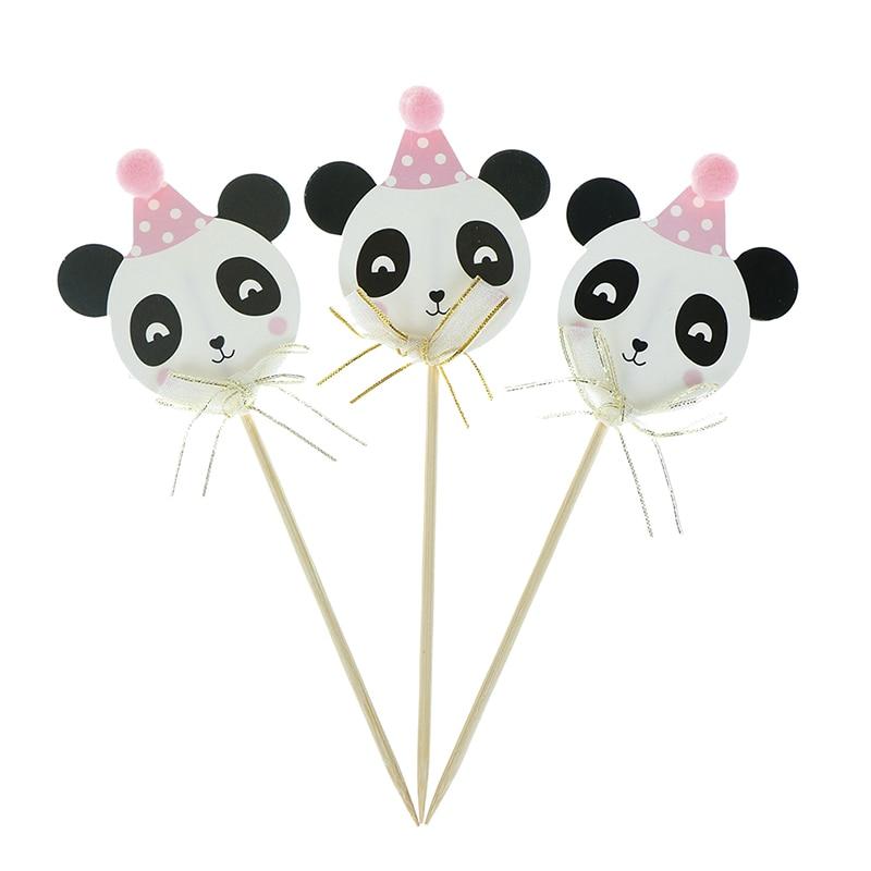 3pcs Pink Blue Kawaii Panda Paper Glitter Cake Topper