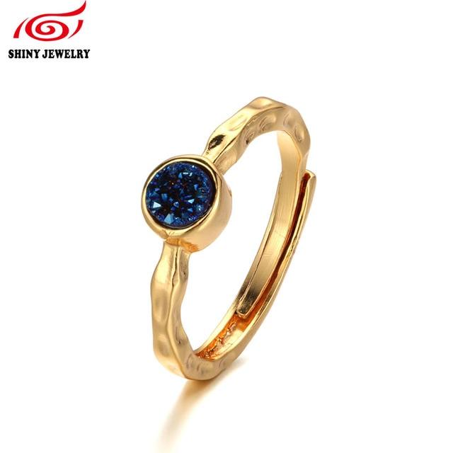 Brand Design Women Bridal Wedding Rings Gold Plating Natural Stone