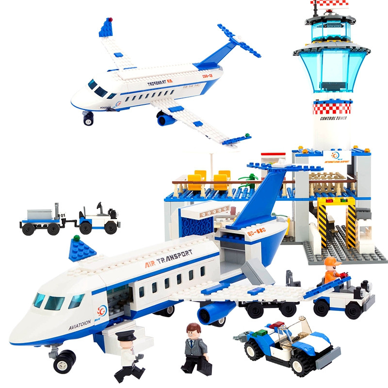 KAZI City International Airport Blocks 652pcs Bricks Building Block Sets Action Gifts Educational Toys For Children Birthday kazi building blocks toy pirate ship the black pearl construction sets educational bricks toys for children compatible blocks
