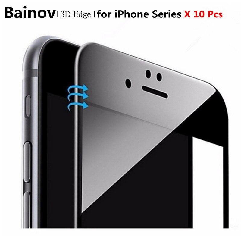 bilder für Bainov 10 Teile/los Glänzend Kohlefaser 3D Gekrümmten Rand Gehärtetem Glas Für iPhone 6 6 S Plus Displayschutzfolie Für iPhone 7 7 Plus