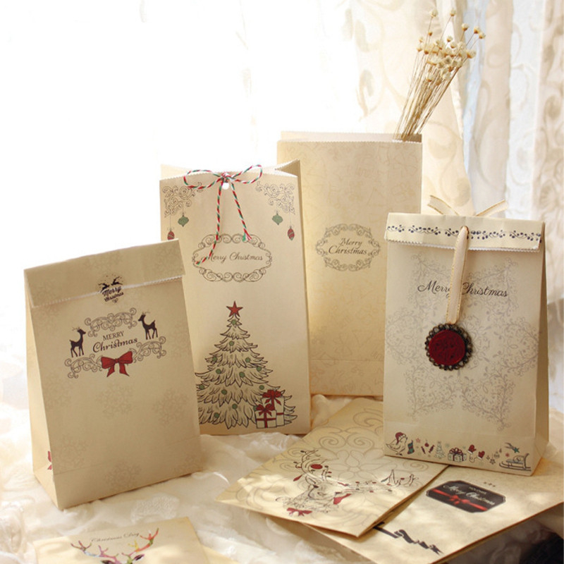 New 6pcs/set Kraft Paper Bag Merry Christmas Gift Bags Party Lolly Favour Bowknot Weddin ...