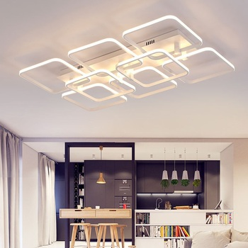 Creative Square Aluminum Acrylic LED Ceiling Light Living room bedroom den office ceiling lamp RC dimmable light fixture 90-240V