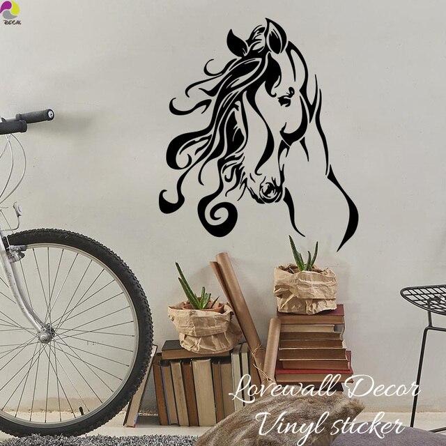 Horse Head Wall Sticker Camera Da Letto Soggiorno Occidentale Rodeo Cowgirl  cavallo Fiore Decalcomania Nursery Camera Dei Bambini Del Vinile Home ...