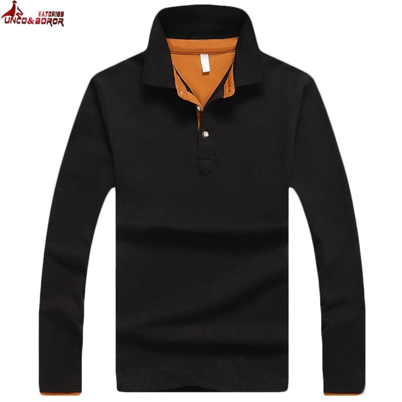 UNCO&BOROR Brand Mens Designer 95% cotton   Polos   Hombre Casual Long Sleeve Solid   Polo   Shirts Homme Camisetas Masculinas shirt