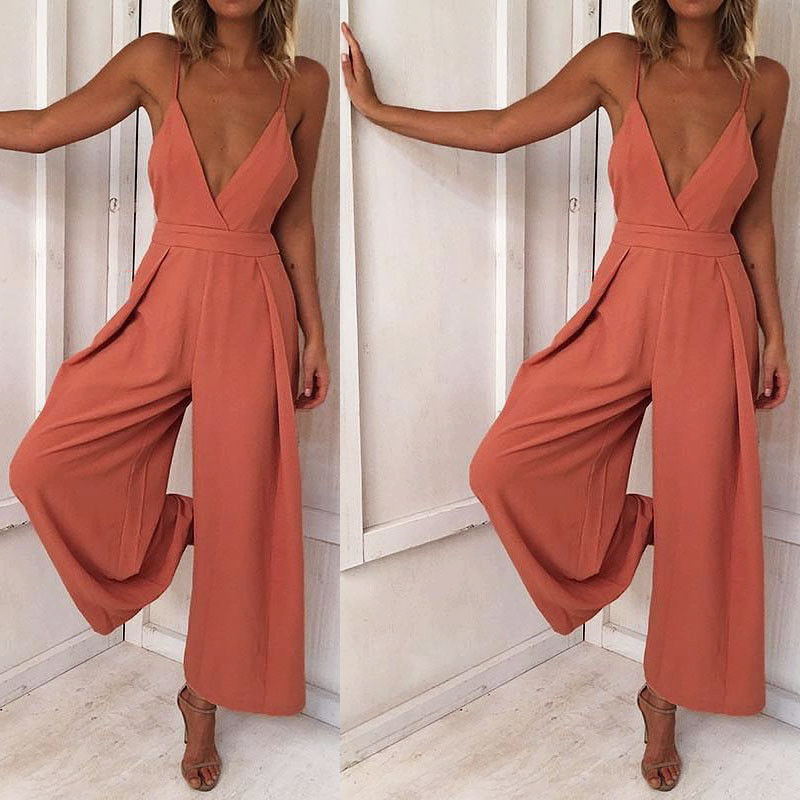 2018 New Summer Rompers Women Jumpsuits Plus Size Sleeveless Backless Straps Solid Wide Leg Retro Full Length Overalls