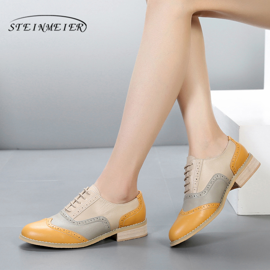 100% Genuine cow leather brogue casual designer vintage lady flats shoes handmade oxford shoes for women beige yellow with fur 100% genuine cow leather brogue casual designer vintage lady flats shoes handmade oxford shoes for women with fur brown
