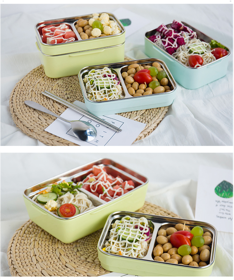TUUTH Cartoon Lunch Box  Stainless Steel Double Layer Food Container Portable for Kids Kids Picnic School Bento Box B8