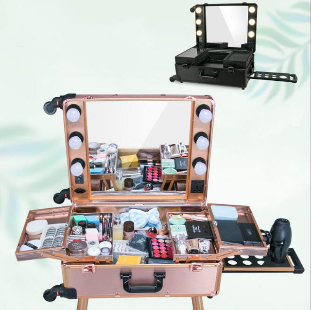 Silver Led Yellow Professional Makeup Station Box Trolley Aluminum