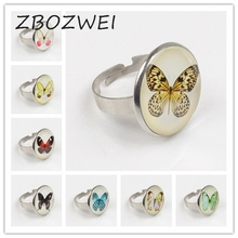 ZBOZWEI 2018 Vintage Jewelry Glass Cabochon Ring&Ring Butterfly Statement Ring Silver Color Jewelry Women zbozwei 2018 st anthony of padua saint ring st anthony jewelry cabochon religious religious gift ring