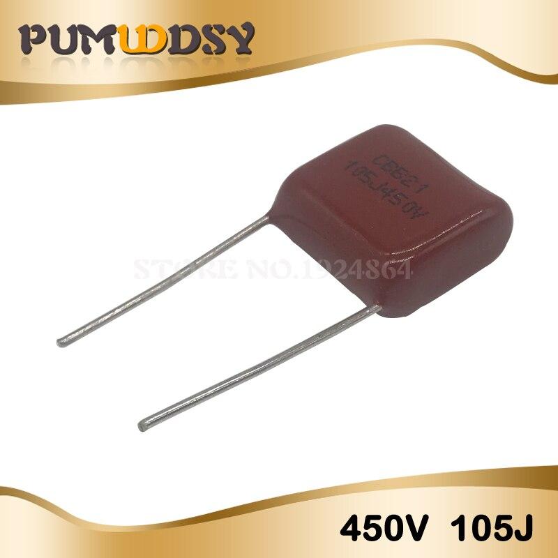 10PCS 1uF 450V CBB Polypropylene Film Capacitor Pitch 15mm 105 450V 1uF
