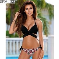 Sporlike Push Up Bikini 2017 Cross Stripe Women Swimwear Swimsuit Halter Top Print Maillot De Bain