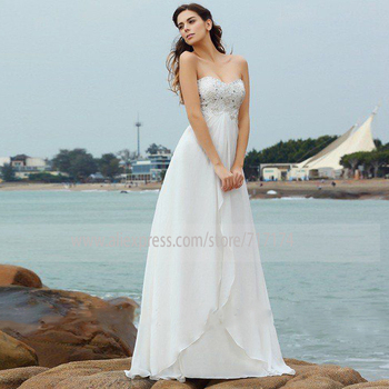 Beading Strapless Neck Soft Chiffon A-line Wedding Dress Backless Crystal Sweep Train Bridal Dress Simple vestido de novia фото