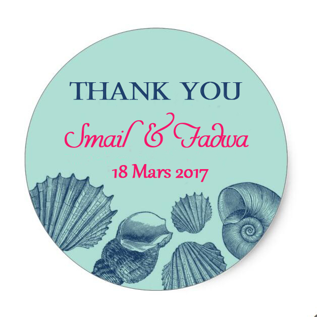 Custom wedding sea shell beach classic round sticker personalized wedding stickers labels or tagscustomized name and date in party diy decorations from