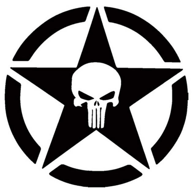 15*15CM Punisher Military Standard Personalized Car Stickers Vinyl Decals  Motorcycle Accessories C2-0653
