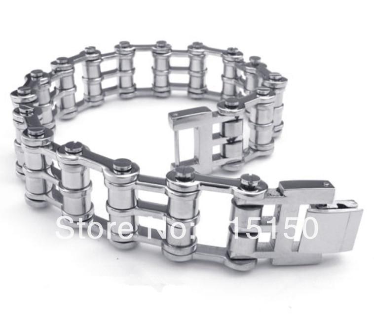 Fashion Bangle Motorcycle Bike Chain Stainless Steel Cool Men bracelet 16mm
