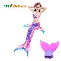 Birthday Gift Kids Costume Swimming Halloween Swimmable Mermaid Tail Swimwear Children Mermaid Tail with Monofin for Girls