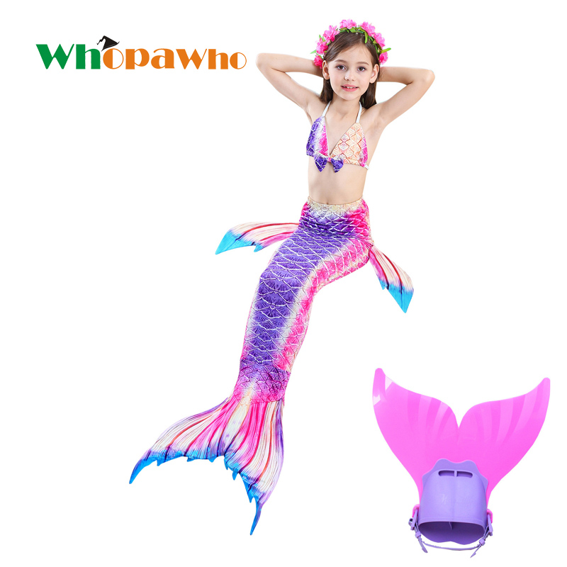 Cadeau d'anniversaire enfants Costume natation Halloween nagable queue de sirène maillots de bain enfants queue de sirène avec Monofin pour les filles