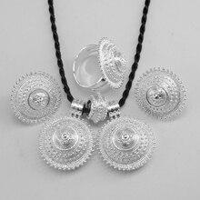 Anniyo 에티오피아 쥬얼리 펜던트 로프 귀걸이 반지 밝은 실버 컬러 에리트레아 아프리카 웨딩 세트 Habesha #056206