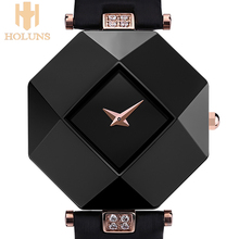 Fashion sexy women dress sapphire ceramic watches large dial Square black white Waterproof Shockproof relogio feminino Free 2016