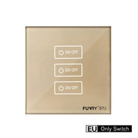 Funry ST2 3 Gang EU Wall Touch Switch Lighting Smart Remote Control Luxury Tempered Glass Surface