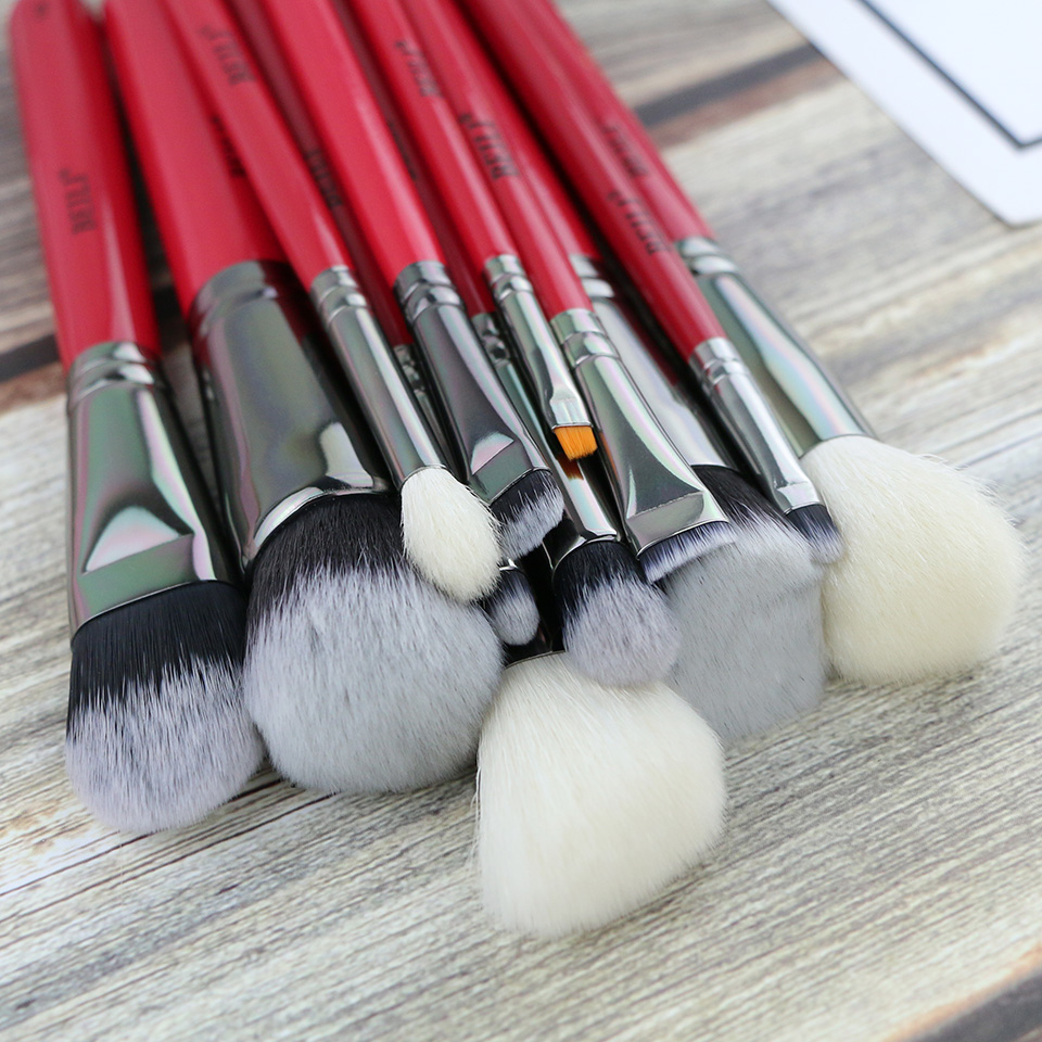 BEILI Red 12PCS Professional Natural Hair Foundation Blusher EyeBlendingEyebrow Eyeliner Contour Powder Makeup Brushes Set цена