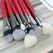 BEILI Red 12PCS Professional Natural Hair Foundation Blusher EyeBlendingEyebrow Eyeliner Contour Powder Makeup Brushes Set